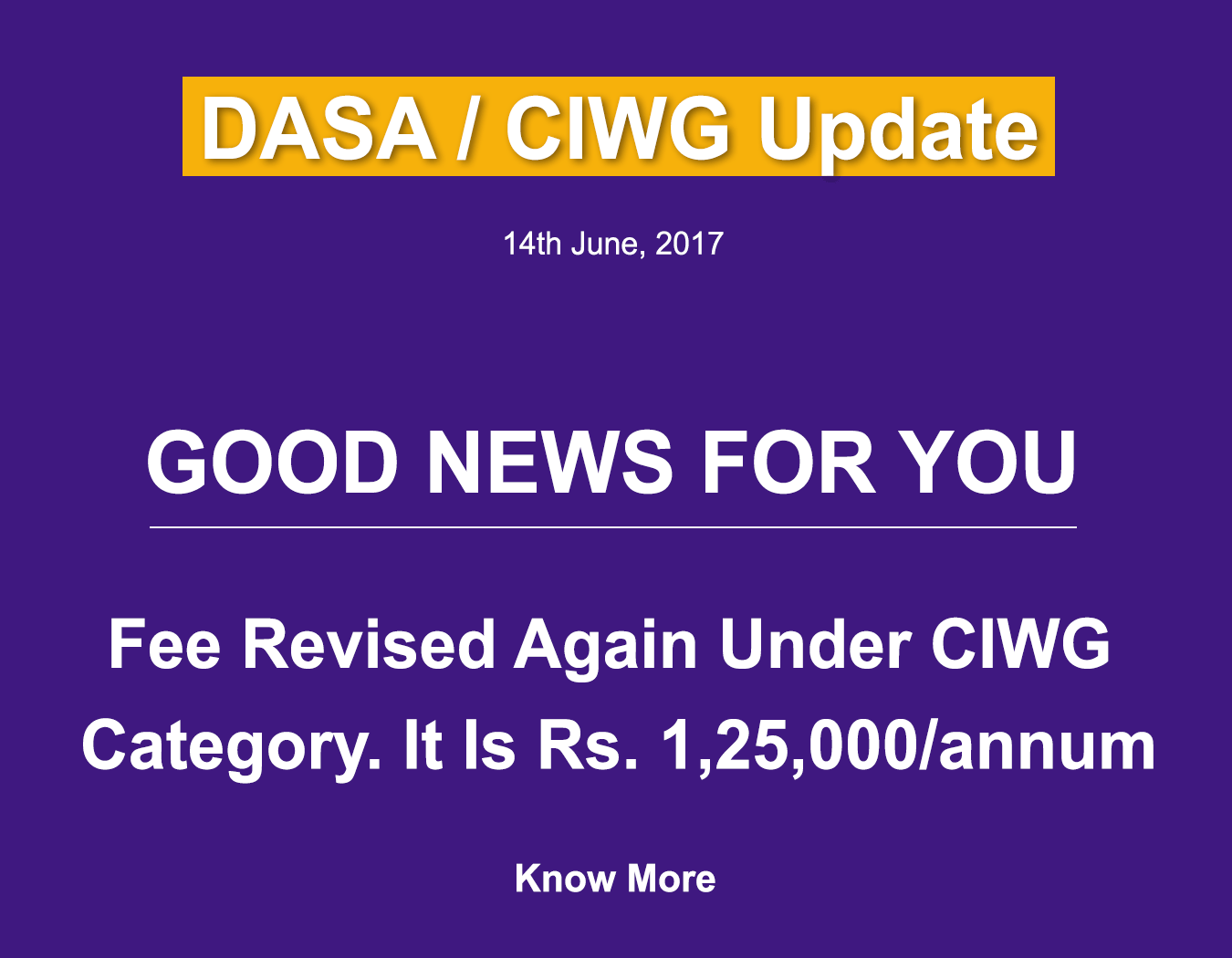 CIWG Fee Structure Revised Again