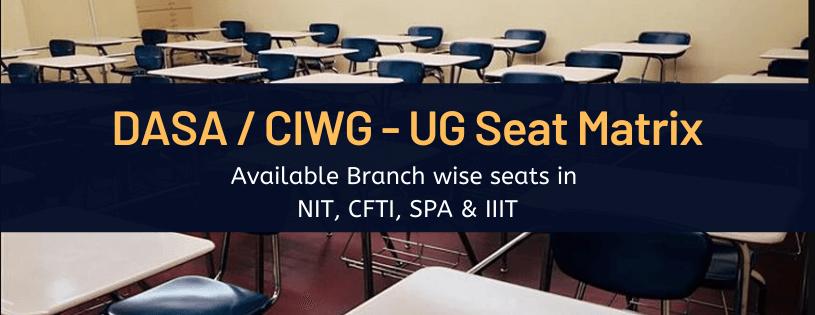 DASA/CIWG Seat Matrix NIT, CFTI,SPA,IIIT