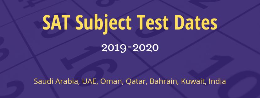 SAT Subject Test Dates 2019 - 20