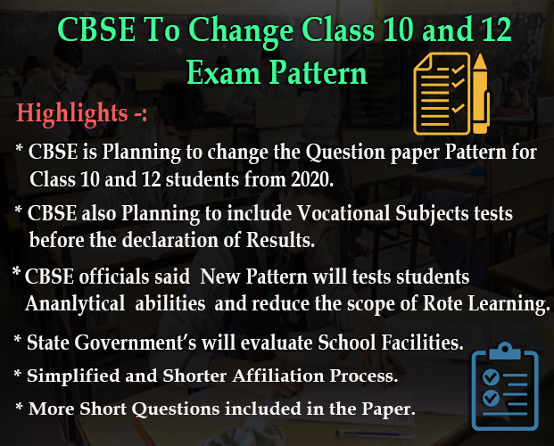 CBSE to change exam pattern for Class 10 and 12